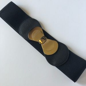 wide stretch black gold bow clasp accent belt